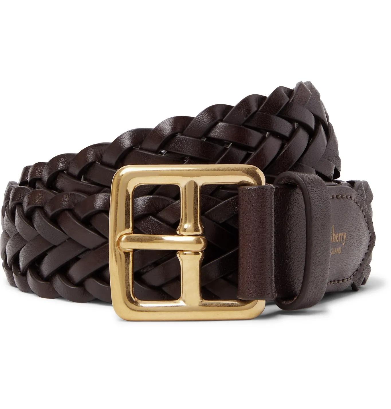 woven leather belt for men