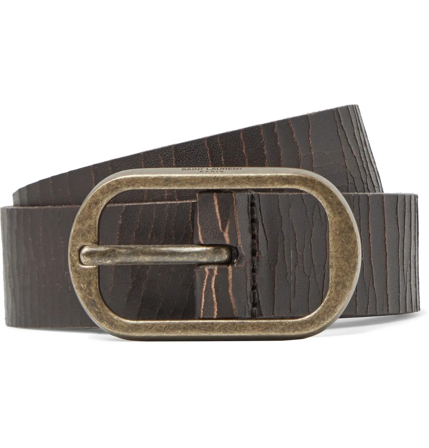 distressed leather belt for men
