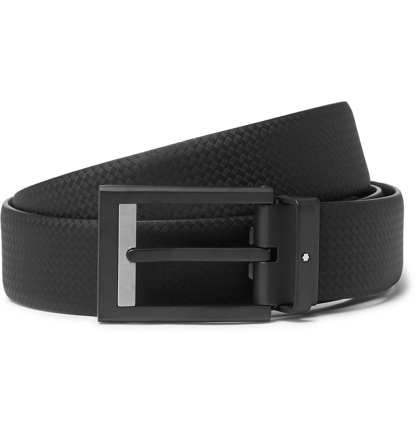 textured black leather belt with matte black belt buckle