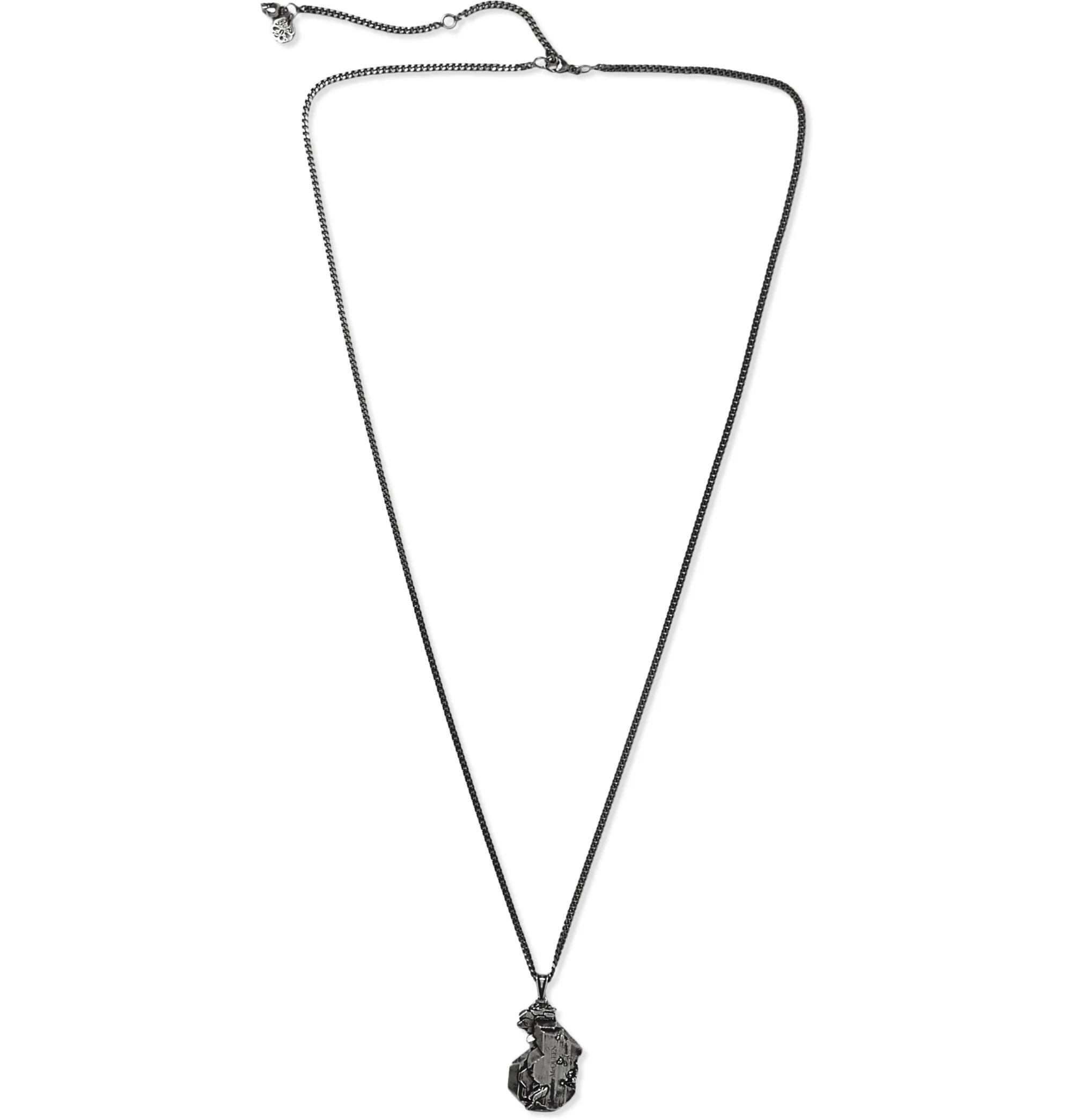 gunmetal necklace with unique pendant