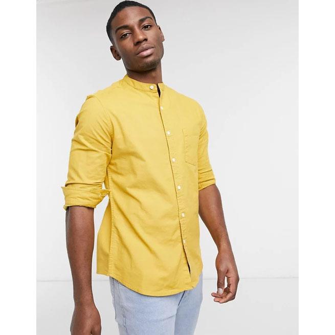 ASOS DESIGN Yarn Dye Organic Oxford Grandad Shirt