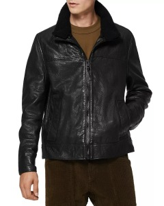 Andrew Marc shearling collar leather jacket, luxury Christmas gifts