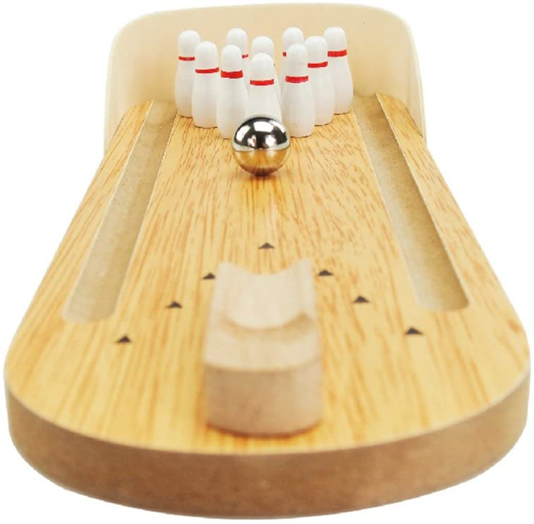 3 Otters Wooden Tabletop Mini Bowling Game