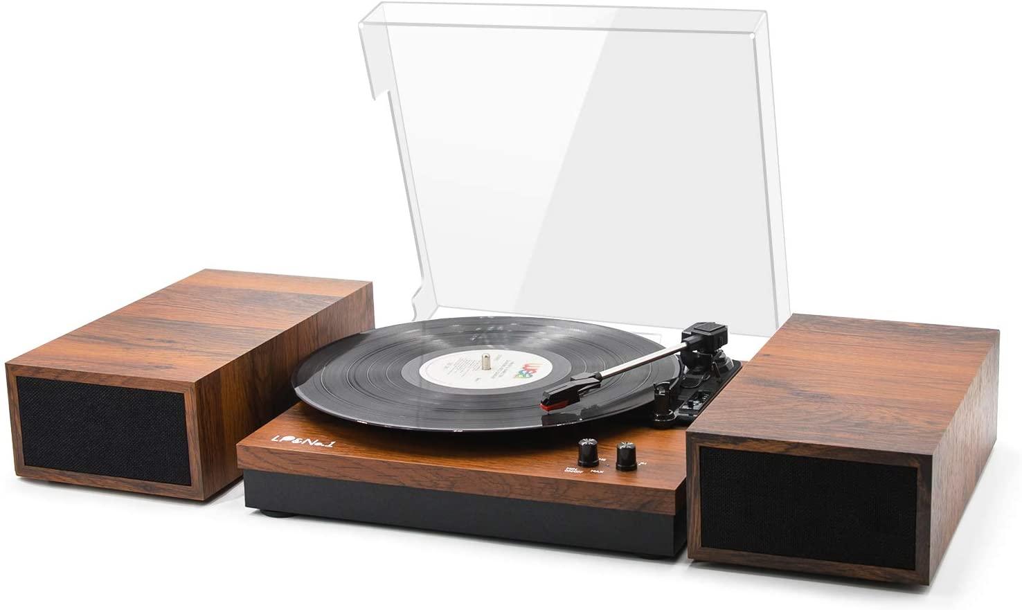 LP&No.1 Retro Belt-Drive Bluetooth Turntable with Stereo Bookshelf Speakers