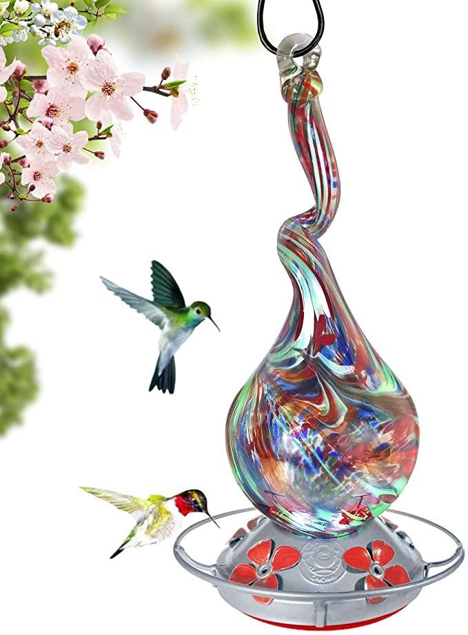 handblown glass hummingbird feeder by Grateful Gnome, best hummingbird feeders