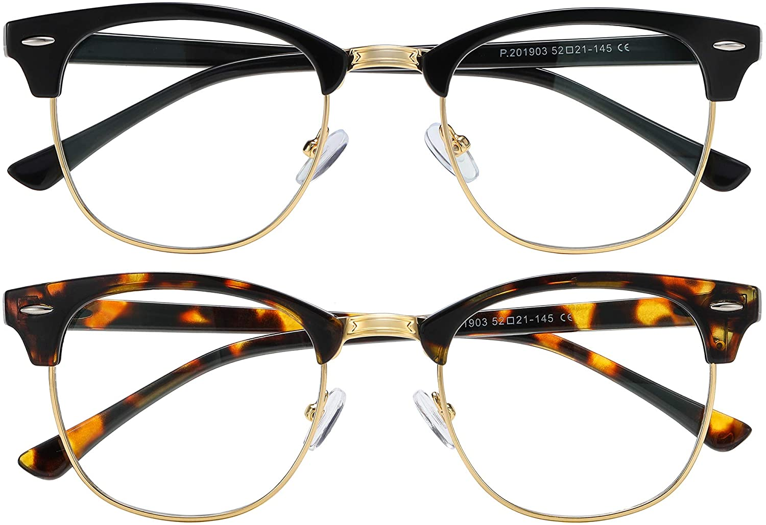 AIMISUV two pairs of semi-rimmed blue light glasses in black and brown tortoise shell
