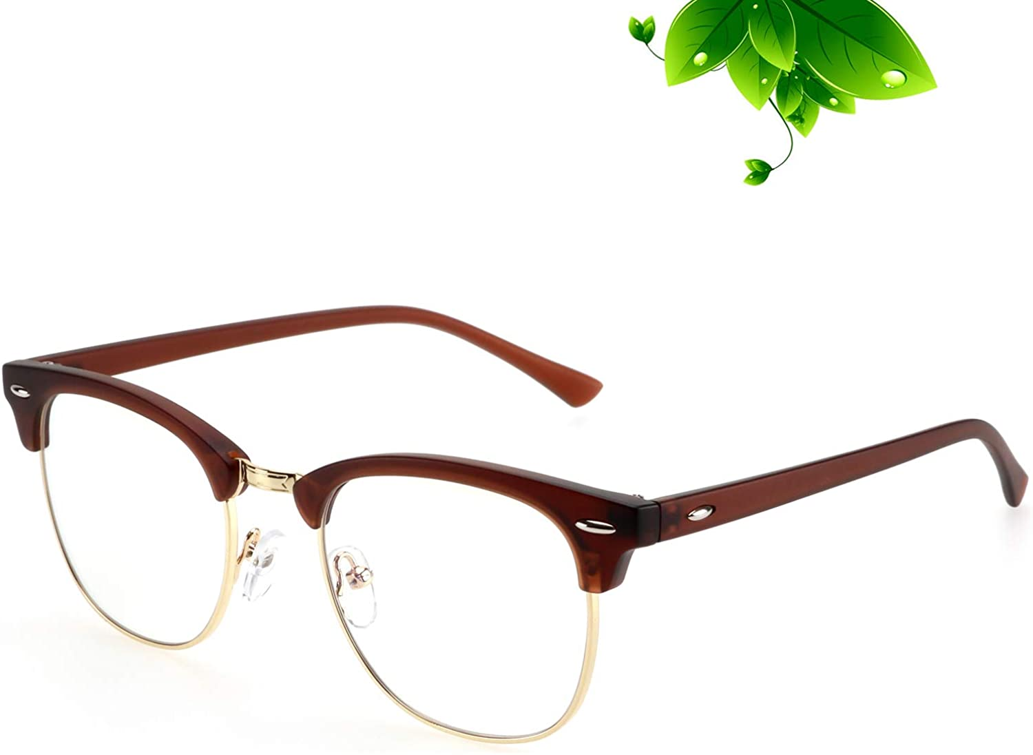 ANYLUV semi-rimmed brown blue light glasses