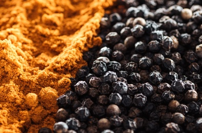 close up view of traditional colorful indian spices, panoramic shot