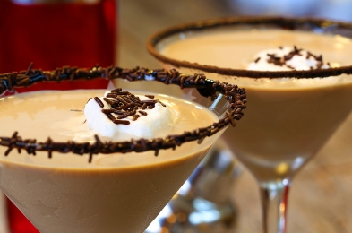 Chocolate martini garnished with chocolate powder on the rim and
