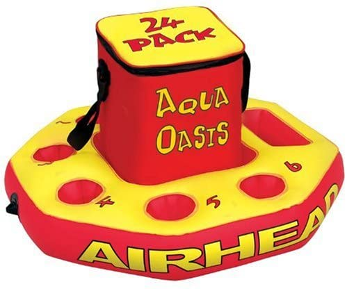 Airhead Aqua Oasis Floating Cooler in red and yellow