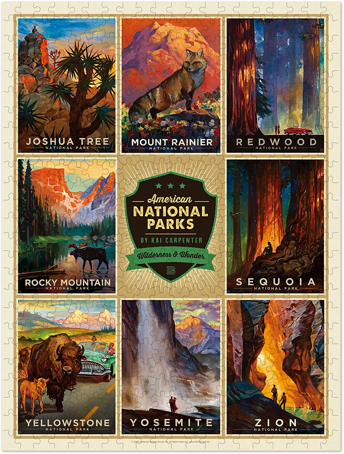 American Flat 500 Piece National Parks Puzzle, best gifts for coworkers