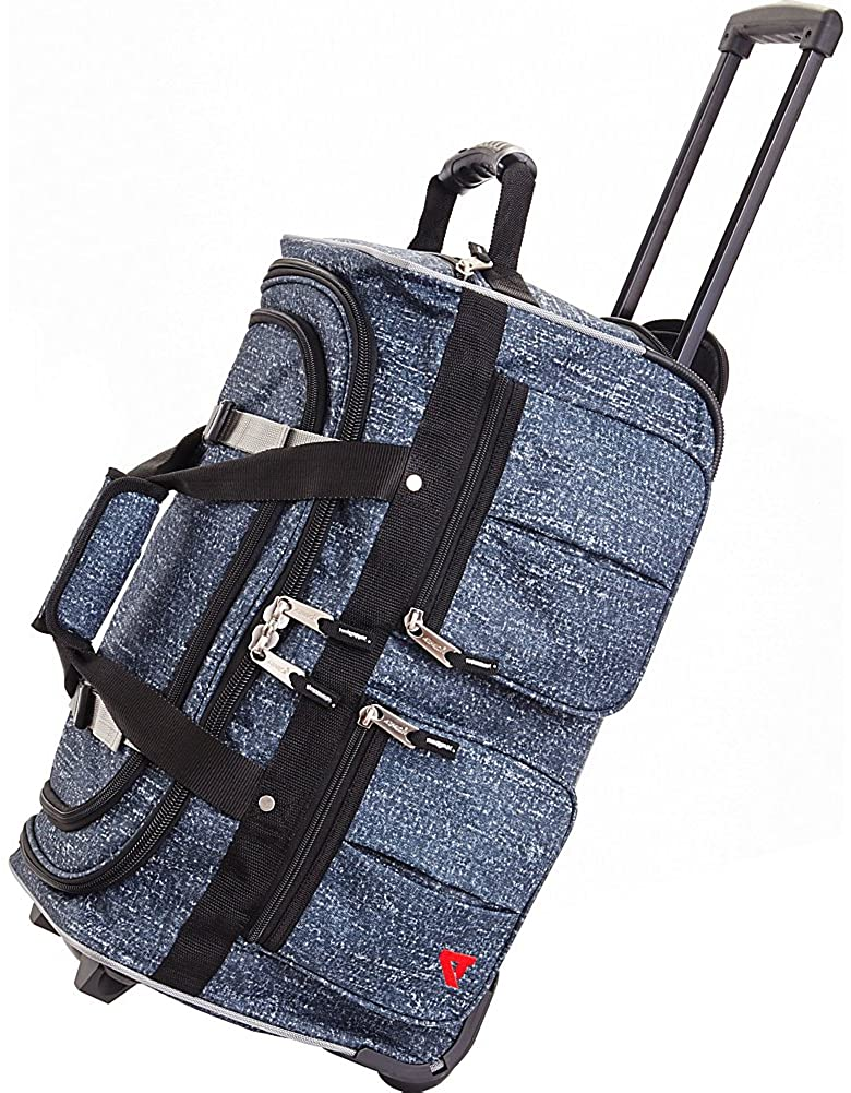 Athalon 15 pocket rolling duffle bag in denim