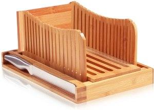 bambusi bread knife and slicer set wood