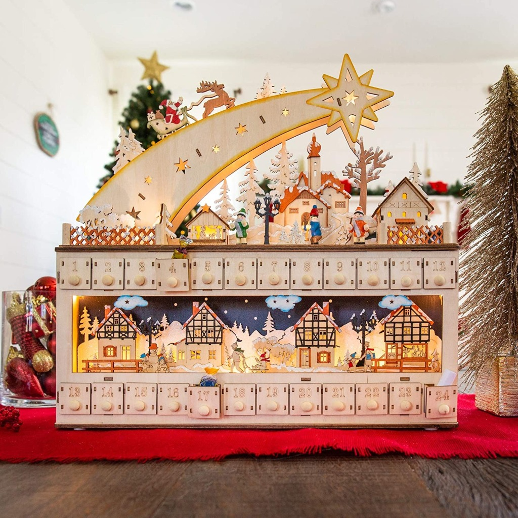 Best Choice Products Wooden Christmas Shooting Star Advent Calendar