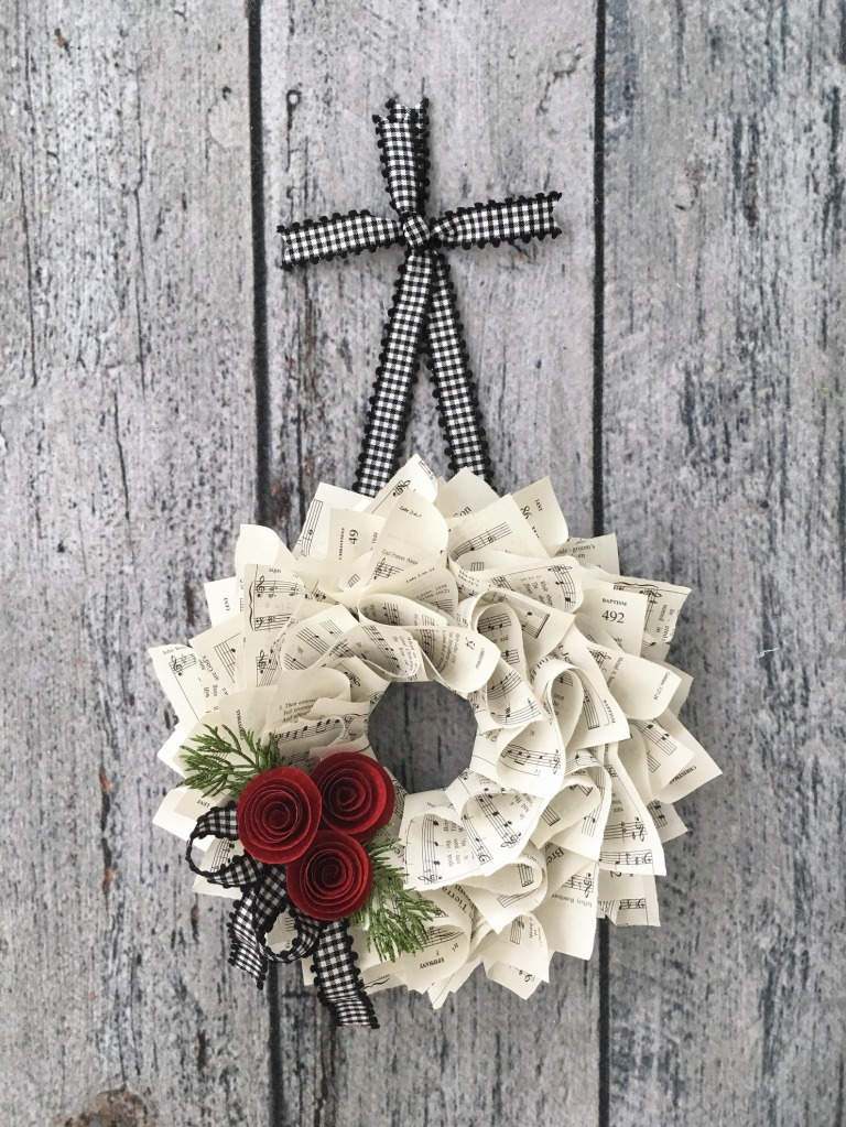 Christmas Wreath, Black & White Gingham Ribbon by The Ruffled Page