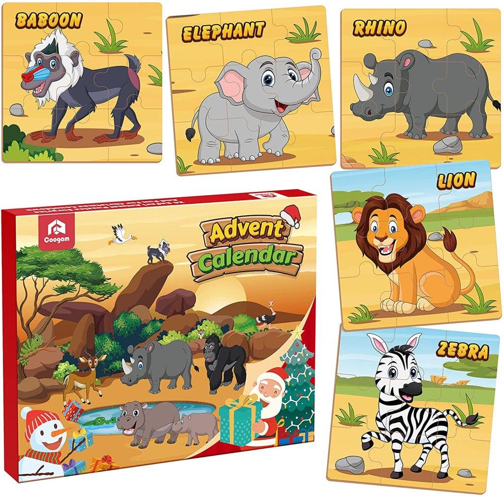 Coogam Wooden Puzzle Advent Calendar for kids