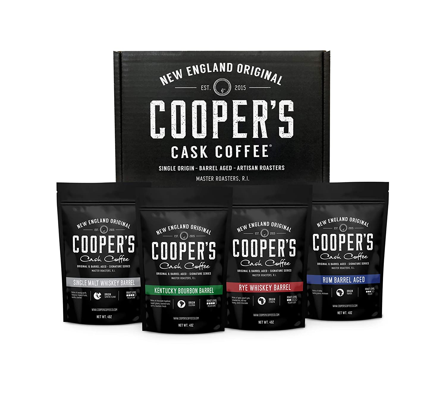 Cooper's Cask Coffee Bourbon & Whiskey Barrel Aged Coffee gift set, best gifts for coworkers