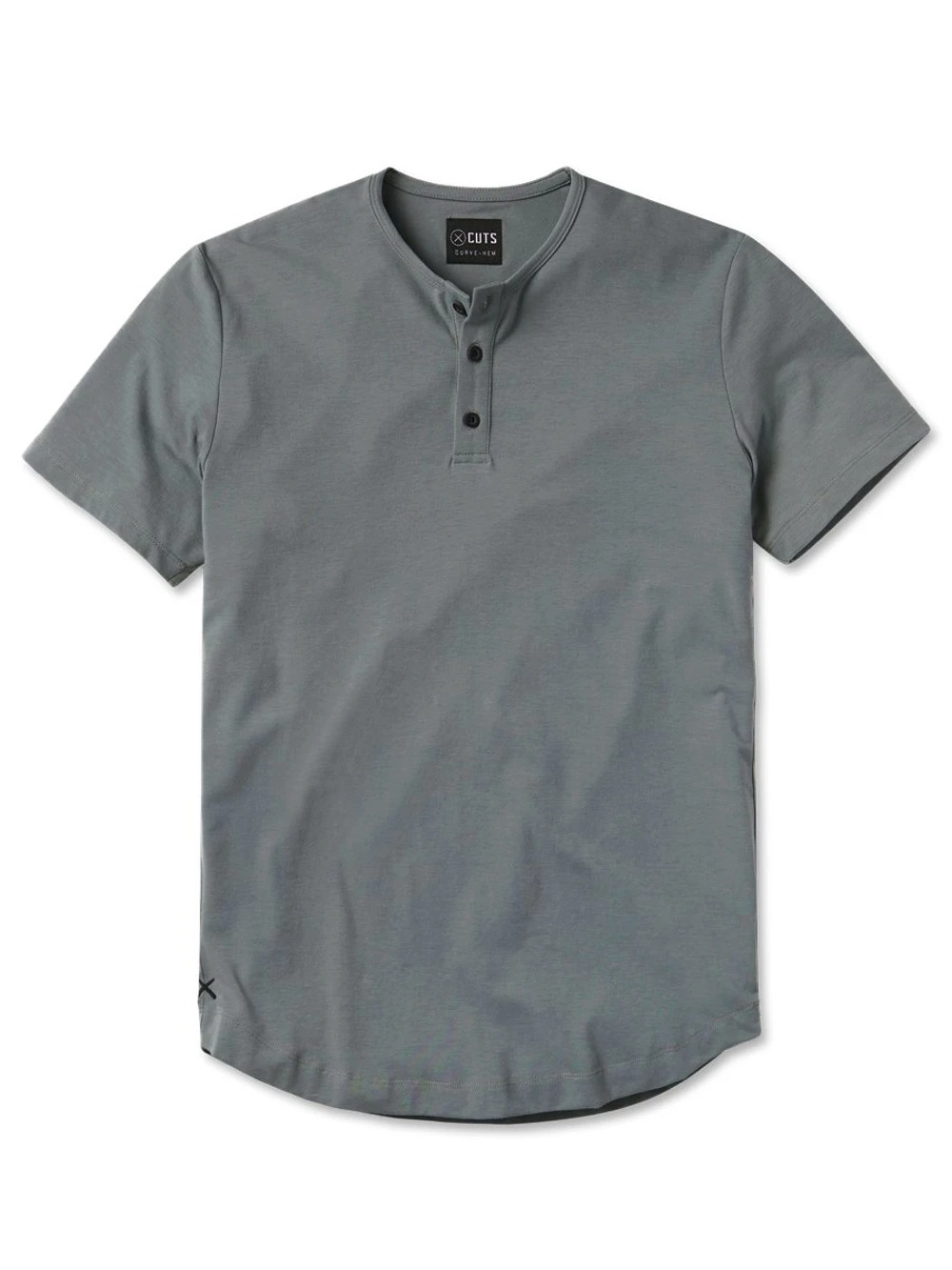 Cuts Clothing Short-Sleeve Henley with Curve Hem in sage, best henley shirts