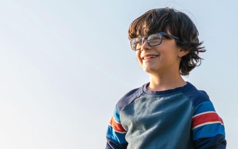 Young boy wears kids blue light