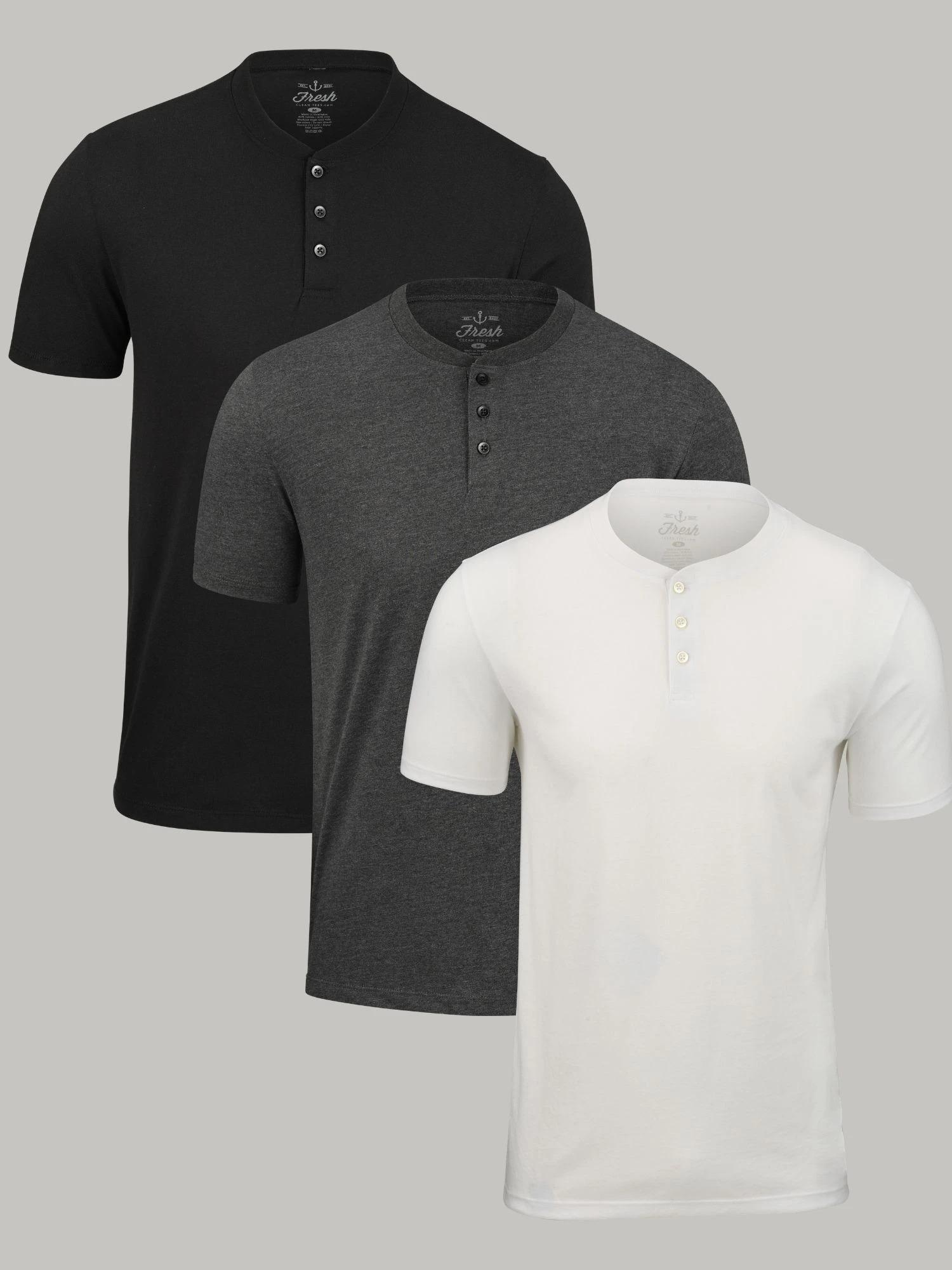 Fresh Clean Tees Short-Sleeve Henley 3-pack, best henley shirts