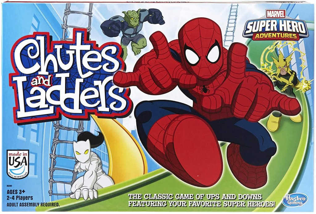 hasbro gaming marvel spider man web warriors chutes and ladders game