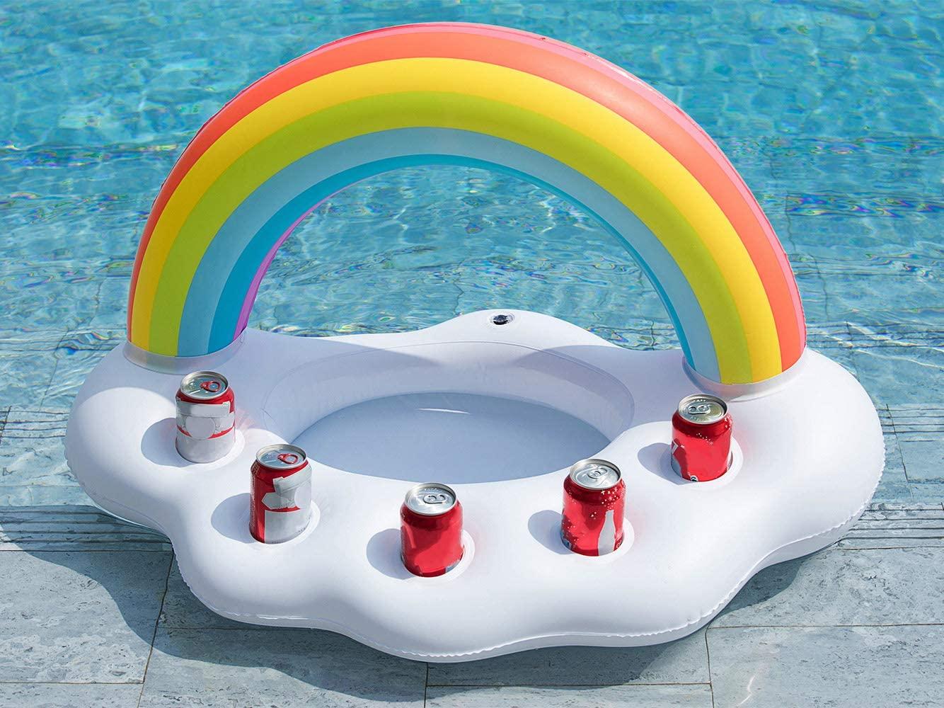 Jasonwell Inflatable Rainbow Cloud Floating Cooler Drink Holder