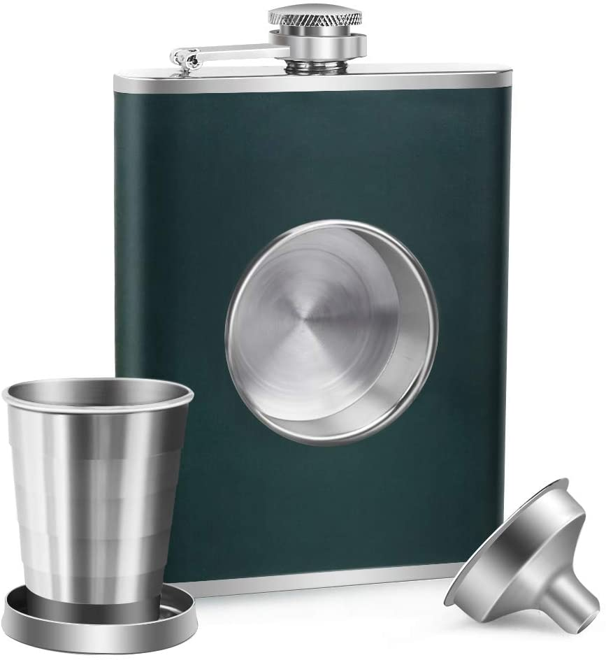 best whiskey flasks - Kwanithink green stainless steel whiskey flask with funnel and collapsible shot glass