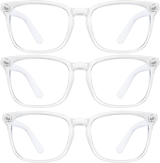 Three pairs of LNEKEI transparent plastic frames blue light blocking glasses