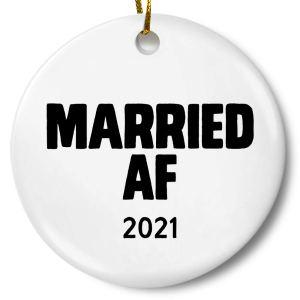 married af 2021 funny wedding christmas ornament