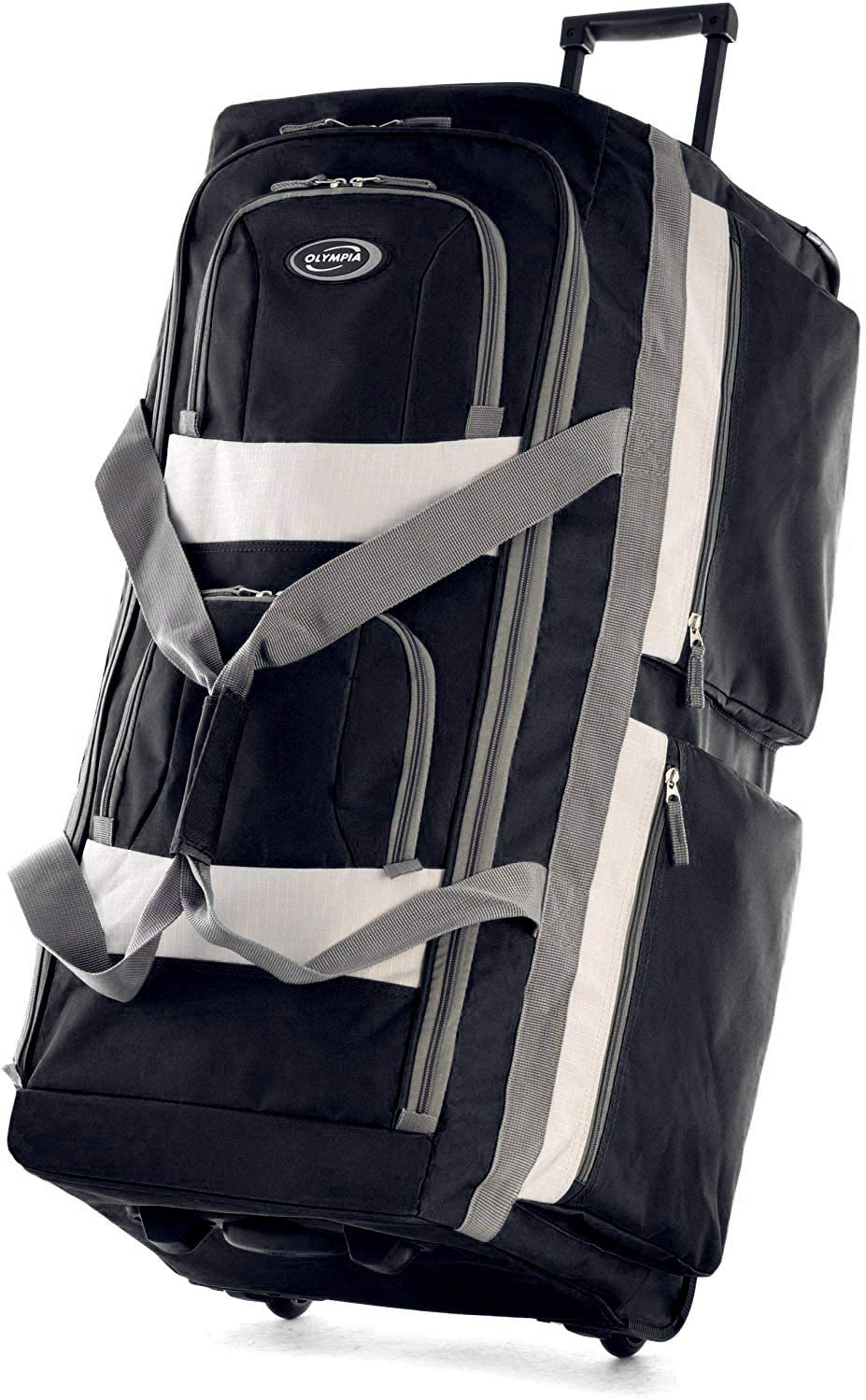 22-inch Olympia 8 pocket rolling duffle bag in black