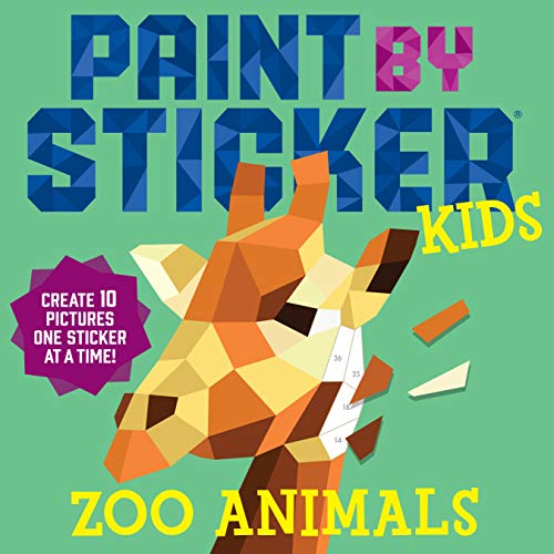 Workman Publishing Paint by Sticker Kids: Zoo Animals, best travel games for kids