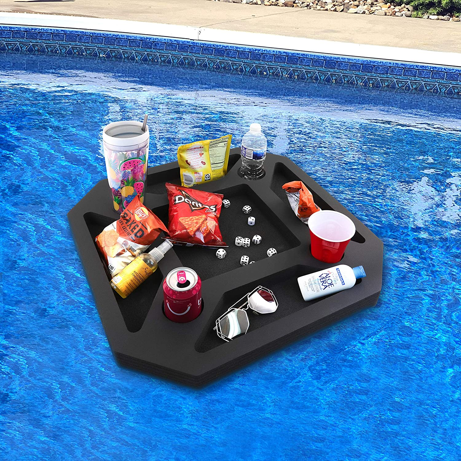 Polar Whale Floating Drink holder floats on water with snacks