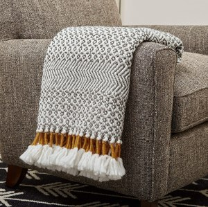 Rivet Modern Hand-Woven Stripe Fringe Throw Blanket, best gifts for couples