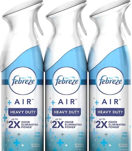 Febreze Crisp Clean Air Freshener Heavy Duty Spray, best odor eliminators for home