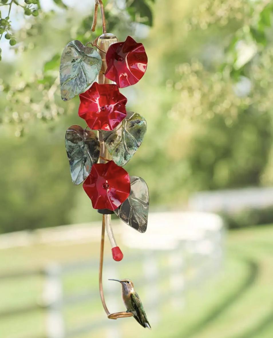 Morning Glory Hummingbird Feeder (flower hanging hummingbird feeder)