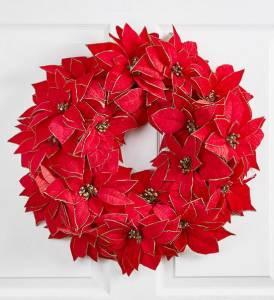 poinsettia wreath red