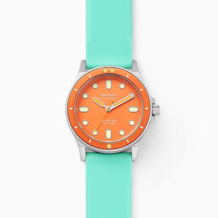 best skagen watches - Skagen Fisk Three-Hand Green Silicone Watch