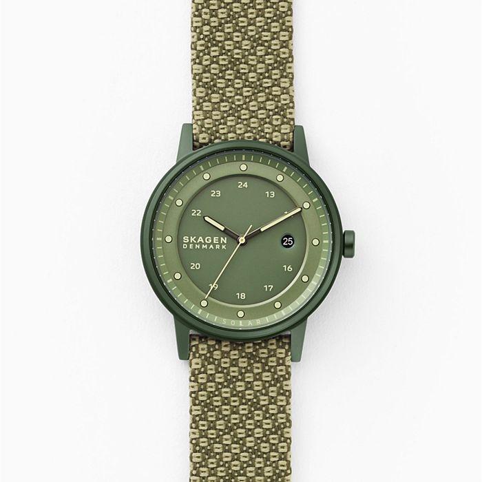 Skagen Henricksen Solar Three-Hand Date Green Recycled Woven Watch
