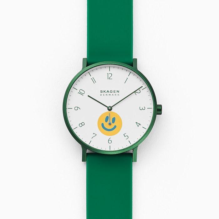 best skagen watches - Skagen x Neighborhood Goods Aaren Three-Hand Green Silicone Watch