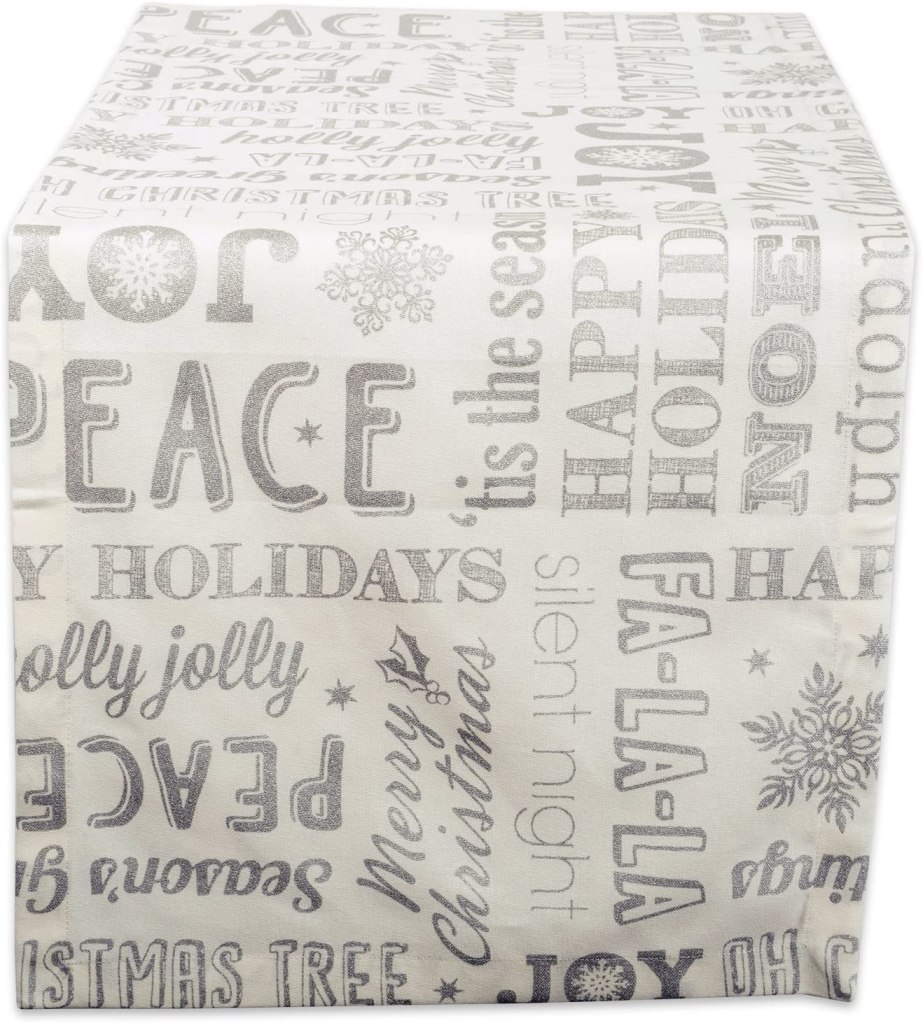 Sliver Christmas Collage Table Runner by DII