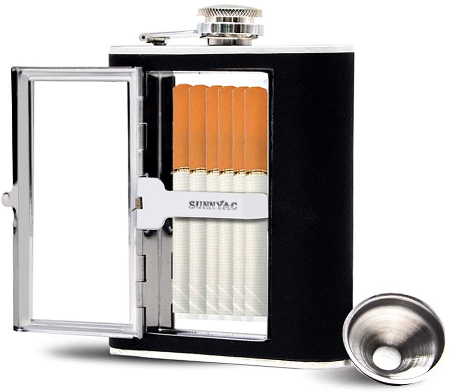 Sunnyac Stainless Steel Flask with cigarette case and black leather cover