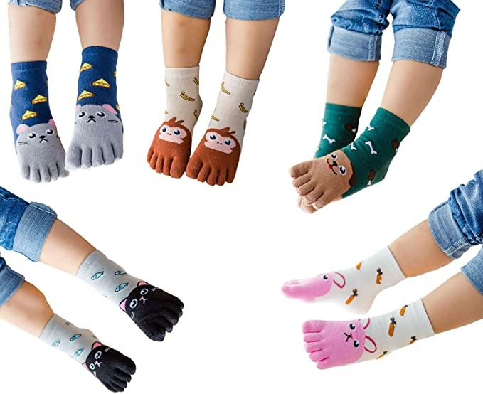 TESOON Cartoon Toe Socks for Kids