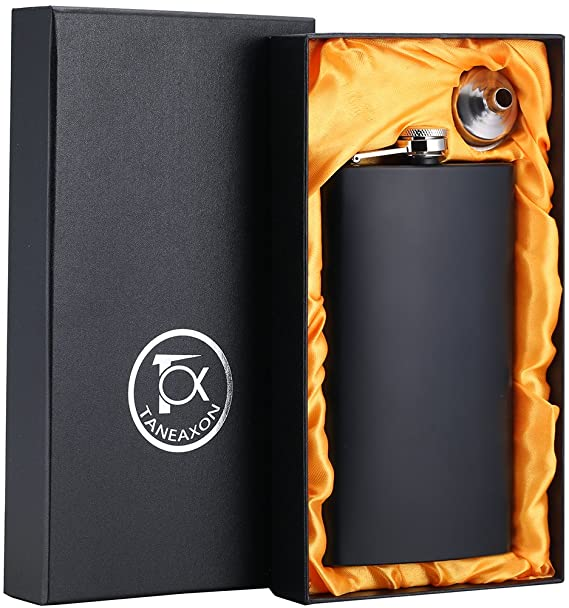 Tox Taneaxon 12-ounce matte black whiskey flask in black box