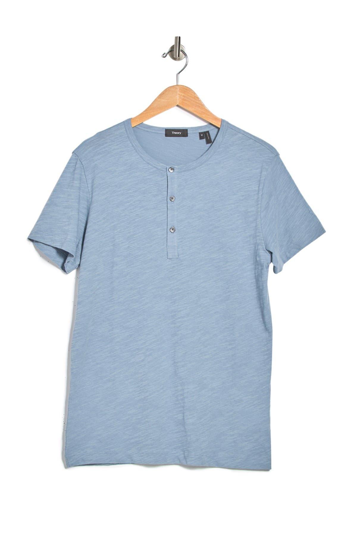 Theory Strato Arlee Short-Sleeve Henley shirt in sky blue