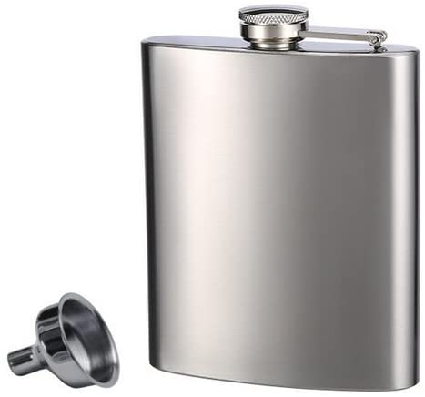 best whiskey flask - Top Shelf Flasks Stainless Steel whiskey flask in silver with funnel and screw-on cap