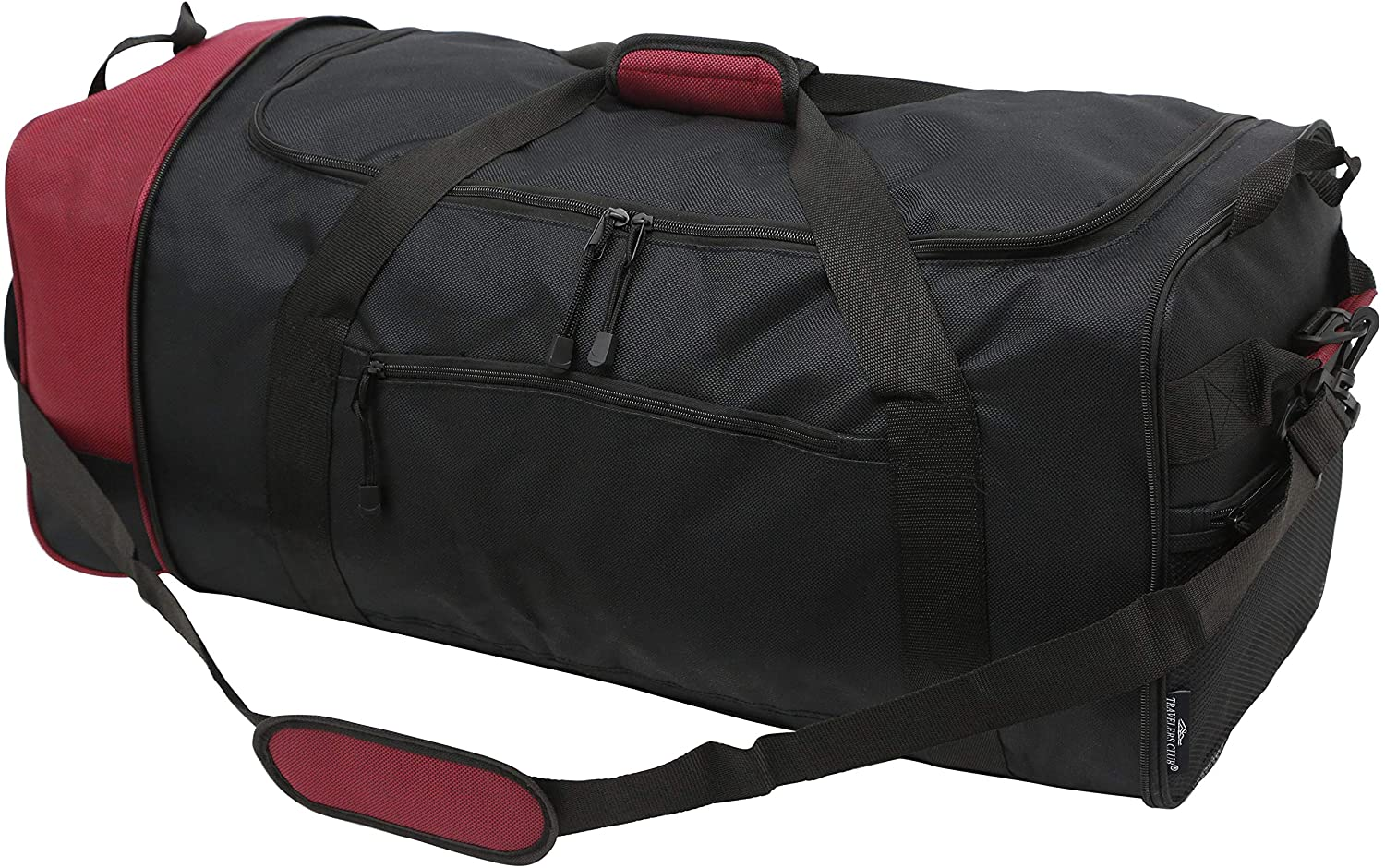 Travelers Club Expandable Rolling Duffle Bag in black and red