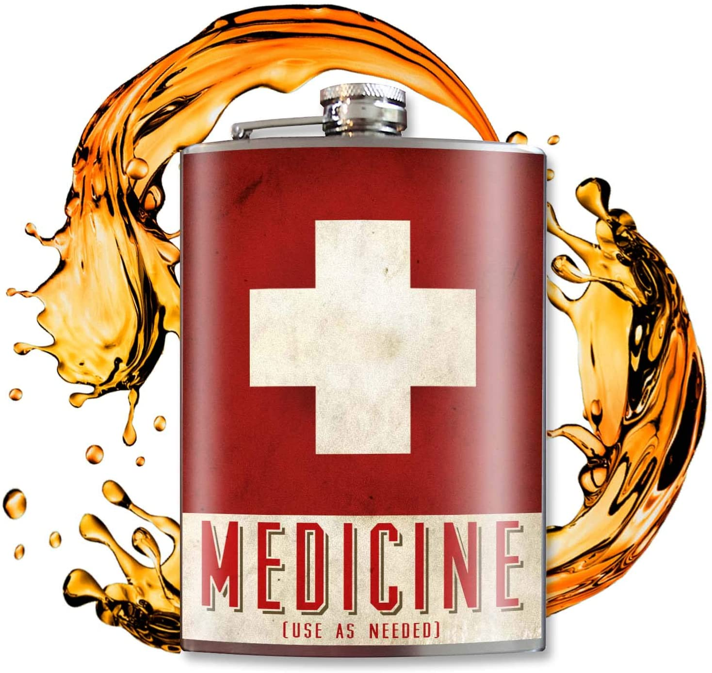 Trixie and Milo Medicine Flask with red and white