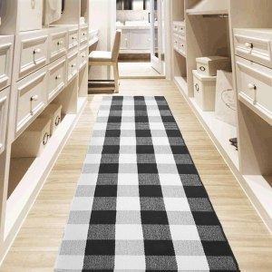 ustide black and white square kitchen rug