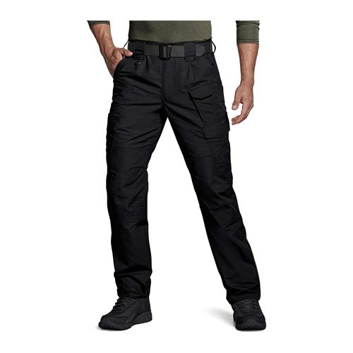Man wears black CQR Tactical Ripstop Cargo pants