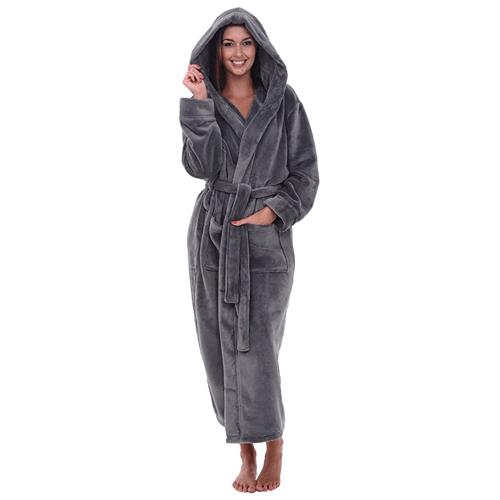 Alexander Del Rossa Women's Plush Fleece Robe with Hood